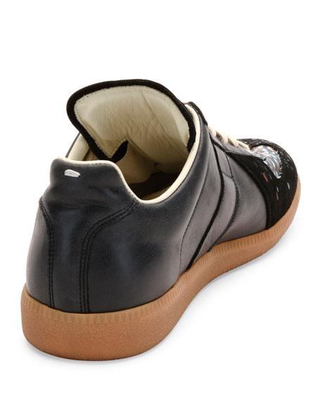 Pollock Paint-Splatter Leather & Suede Low-Top Sneaker, Black