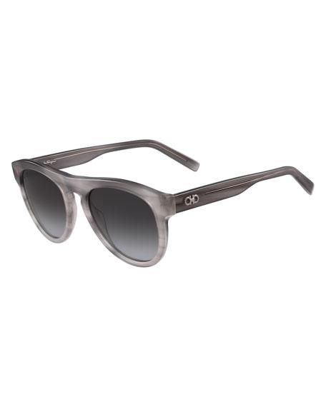 Gancini Round Acetate Sunglasses