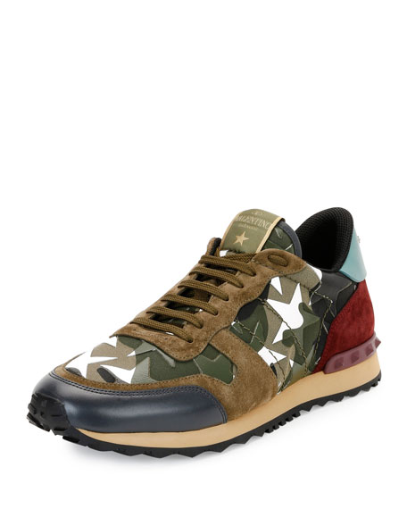 Valentino Garavani Men's Rockrunner Camustars Trainer Sneaker, Army Green /White