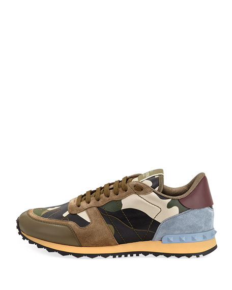 Men's Rockrunner Laminate Camo Leather Trainer Sneaker, Gold/Green