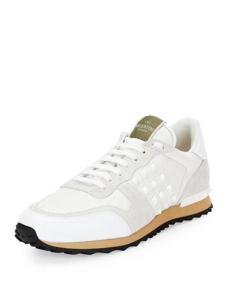 Valentino Garavani Men S Rockstud Denim Sneakers White