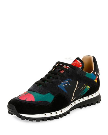 Tropical Nylon & Suede Trainer Sneaker, Multicolor