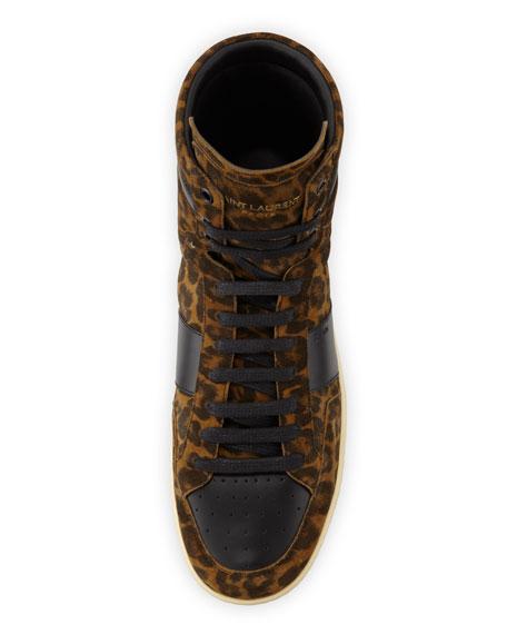 SL/10H Leopard Suede High-Top Sneaker
