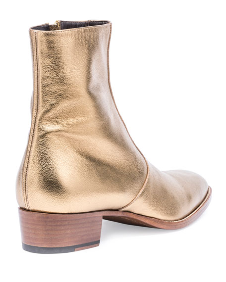 77124563 Wyatt 40mm Men's Metallic Leather Ankle Boot Gold