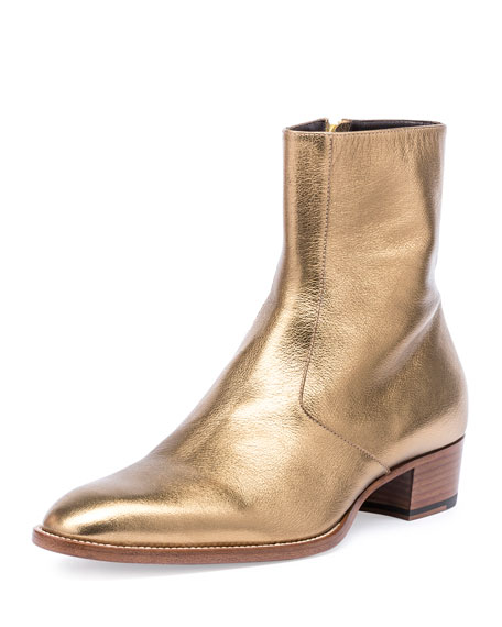 Saint Laurent Wyatt 40mm Men s Metallic Leather Ankle Boot 8c10a798faab