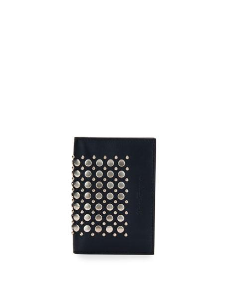 Runway Studded Bi-Fold Card Case, Blue Marine