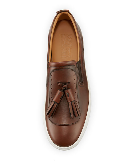 Leather Sneaker with Oversized Tassels on Archival Sawtooth Sole, Brown