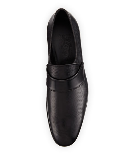 Micro-Perforated Calfskin Leather Loafer, Black