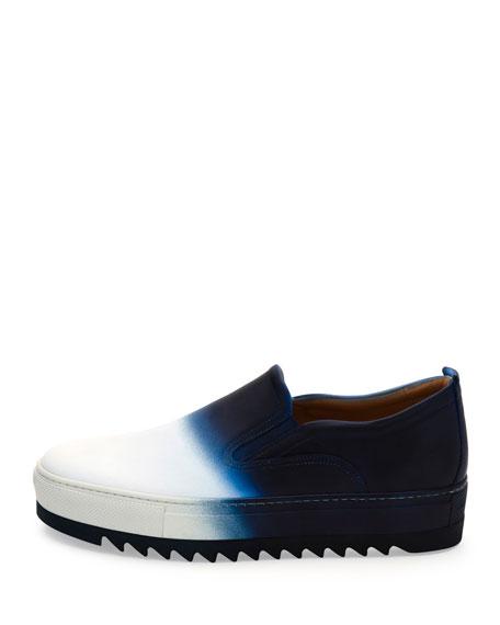 Dégradé Leather Slip-On Sneaker, White/Blue