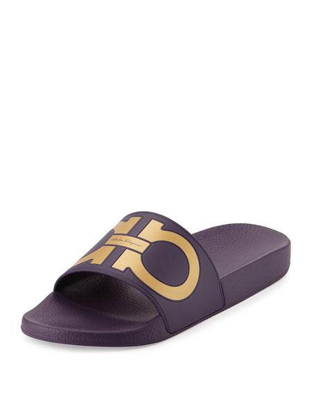 Gancini Pool Slide, Purple/Gold