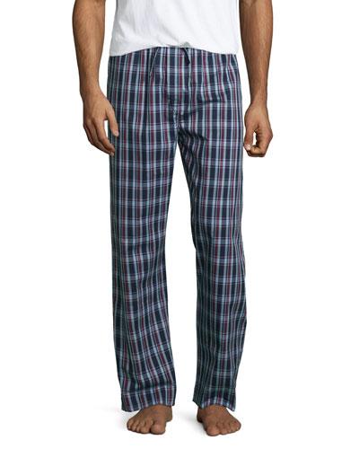 Plaid Pajama Pants, Burgundy/Navy