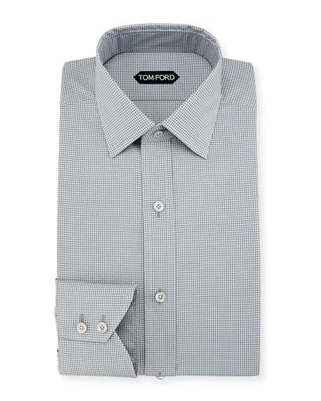 Slim-Fit Micro-Check Barrel-Cuff Dress Shirt, Gray