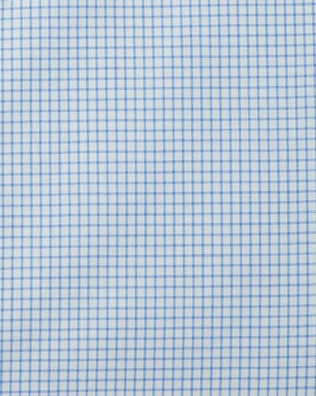 Slim-Fit Micro-Check Barrel-Cuff Dress Shirt, Blue