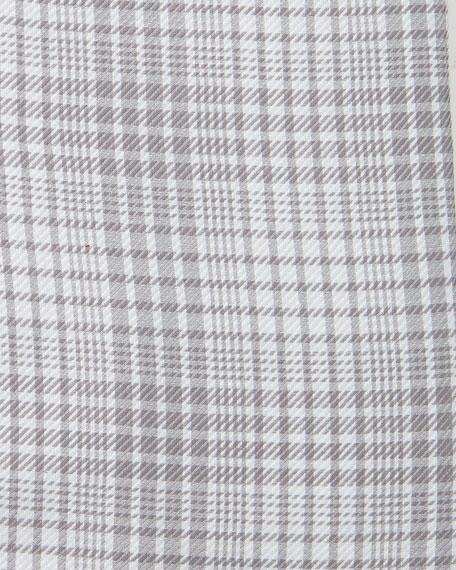 Slim-Fit Twill Plaid Bicolor Dress Shirt, Gray