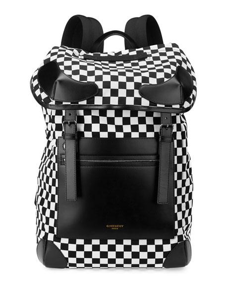 Rider Checker-Print Backpack, Black/White