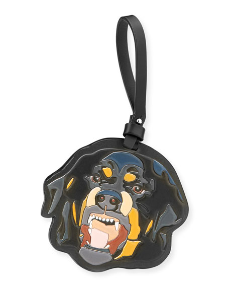 Men's Leather Rottweiler Charm for Bag or Briefcase, Black