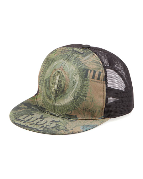 Dollar-Print Flat-Billed Hat, Olive