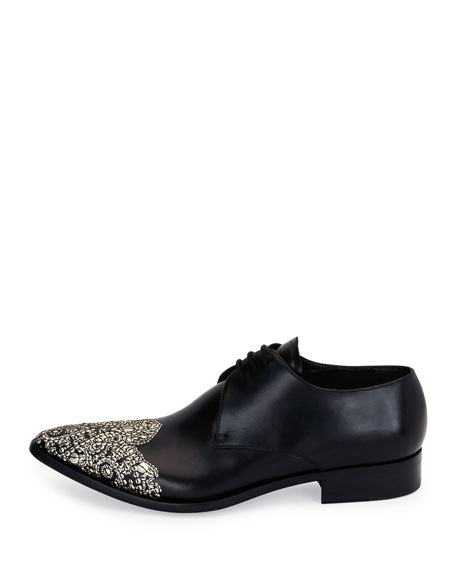 Embellished Wing-Tip Pointed-Toe Oxford, Black