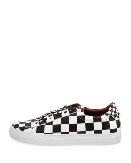 Men's Check Urban Knot Leather Low-Top Sneaker, Black/White