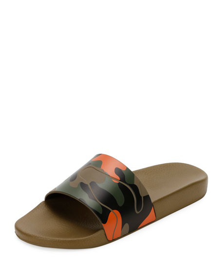 Camo Rubber Slide Sandal, Green/Orange