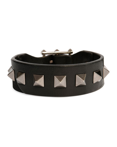Men's Rockstud Camo Leather Bracelet, Black