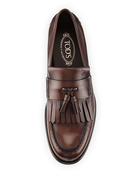 Kiltie Leather Tassel Loafer, Brown