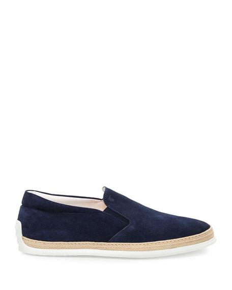 Suede Espadrille Slip-On Sneaker, Navy