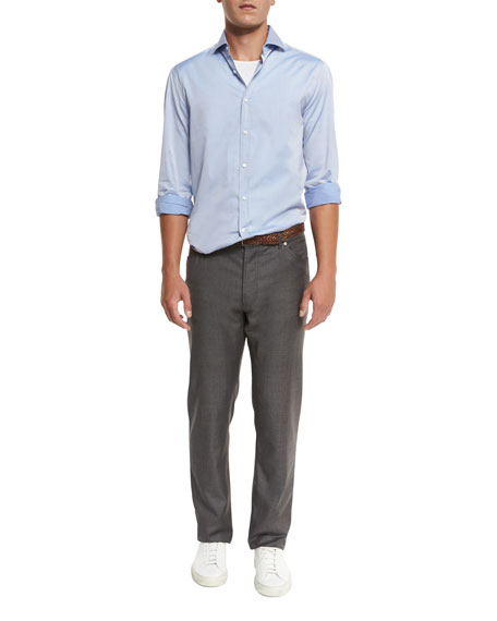 Wool Grisaille Five-Pocket Pants, Gray