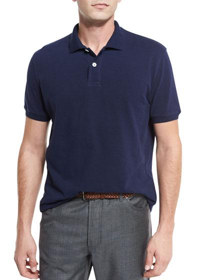 Pique Polo Shirt, White