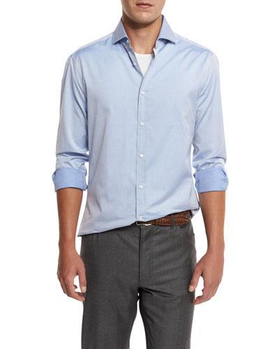 Slim-Fit Woven Sport Shirt, Blue