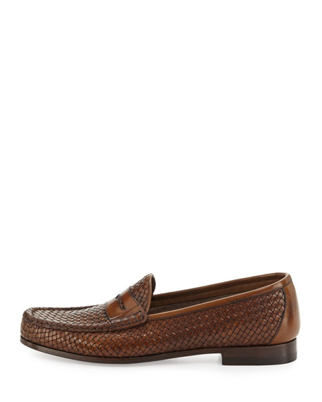 Neville Woven Leather Penny Loafer, Brown