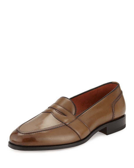 TOM FORD Taylor Burnished Leather Penny Loafer, Brown