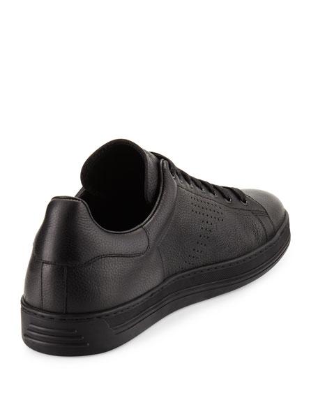 Warwick Grained Leather Low-Top Sneaker, Black