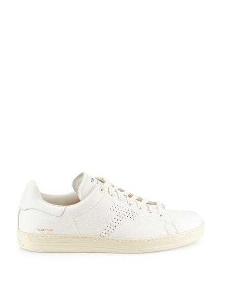 Warwick Grained Leather Low-Top Sneaker, White