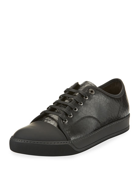 Men's Cap-Toe Crackle Leather Low-Top Sneaker, Black