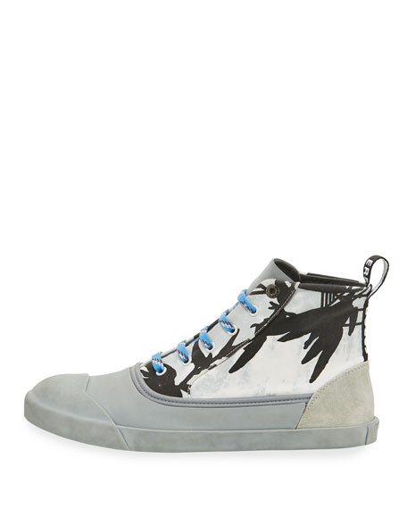 Men's Jungle-Print High-Top Sneakers, Black