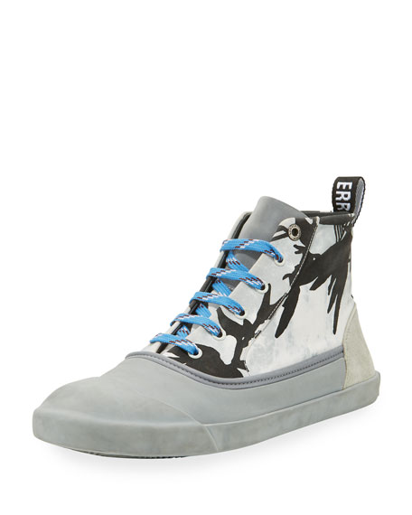 Lanvin Jungle-Print High-Top Sneaker, Black