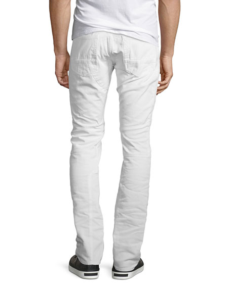 Slim-Straight Moto Jeans, White
