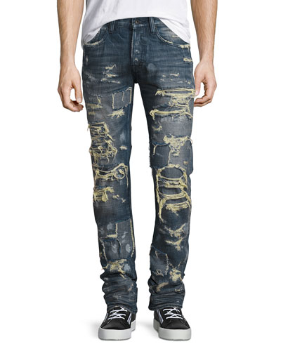 Super-Distressed Rip Repair Denim Jeans, Indigo