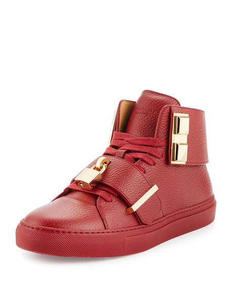 Buscemi Men's 100mm Trap High-Top Sneaker, Red