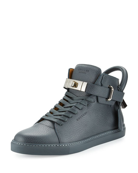 100mm Men's Leather High-Top Sneaker, Dark Gray