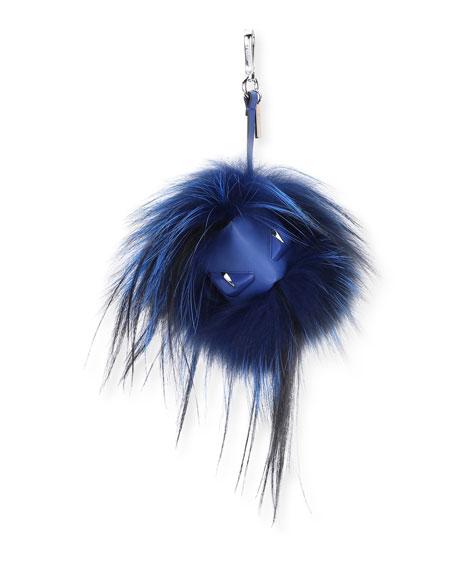 Fendi Striped Fur Monster Charm for Mens Bag, Black