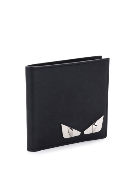 90b6ddcd Monster Eyes Leather Bi-Fold Wallet Black