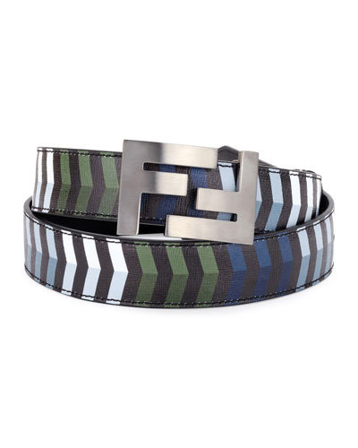 Double-F Buckle Striped Leather Belt