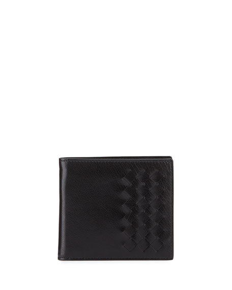 Intrecciato Shiny Leather Bi-Fold Wallet, Black