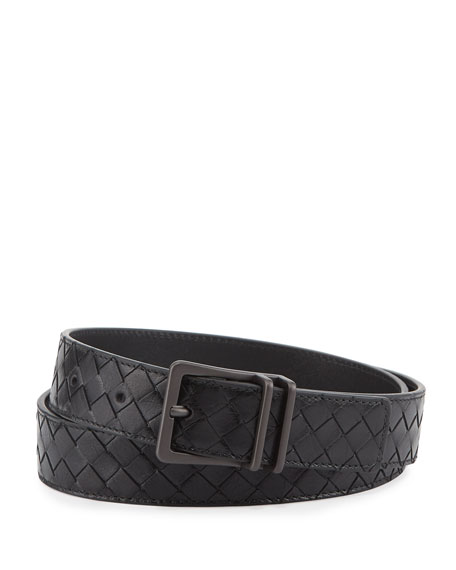 Bottega Veneta Men's Intrecciato Calf Leather Belt, Black