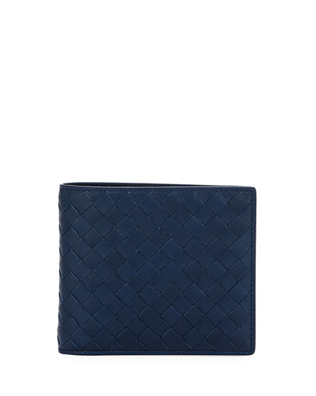 Bottega Veneta Bi-Fold Intrecciato Leather Wallet, Pacific (Navy)