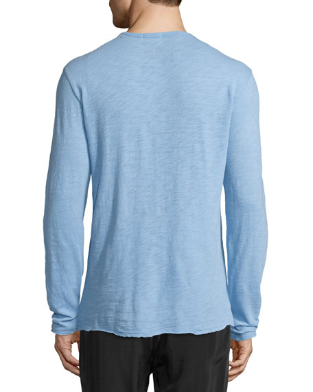 Long-Sleeve Slub Henley Shirt