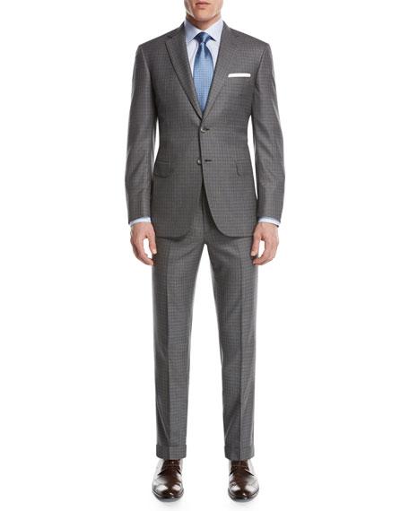 Brioni Super 160s Wool Box-Check Two-Piece Suit, Light