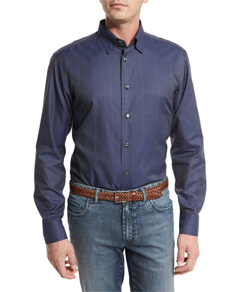 Tonal Glen Plaid Sport Shirt, Steel Blue